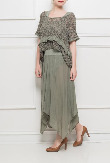 Long dress with lace top, asymmetric hem - TU corresponds to T38-40