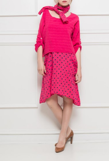 Cotton dress with roll-up sleeves, printed pokla dots, sold with a matching scarf - TU corresponds to T38-40