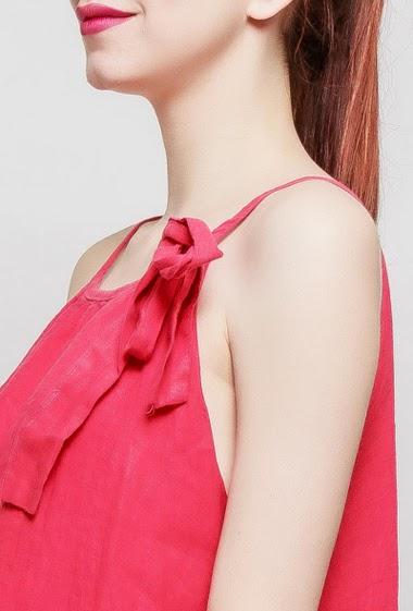 Sleeveless dress, fancy bow, puffed effect, button keyhole back, TU corresponds to 38-40