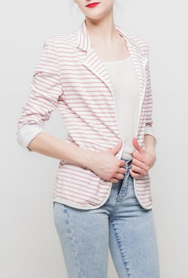 Fleece jacket with bicolour stripes, casual and regular fit. TU corresponds to T38/40