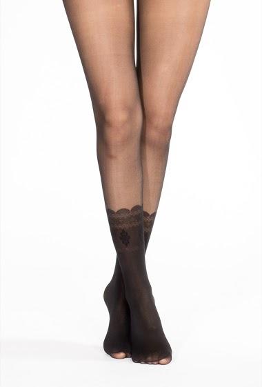 Collant transparent avec motifs chaussettes. (20 Den / 60Den)