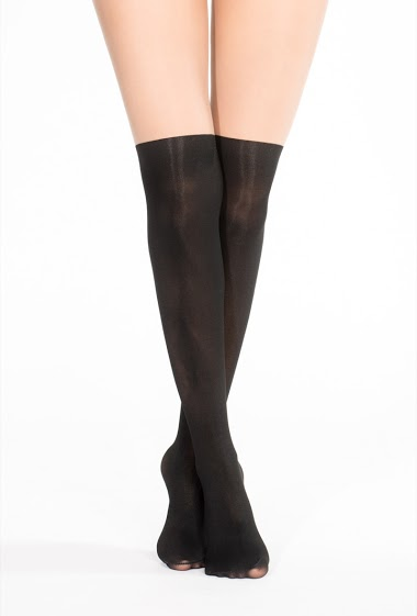 Transparent tights, thick lower leg, with a flower printed. (20 Den/ 60 Den)