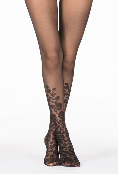 Tight with flower printed on the half leg (20Den)