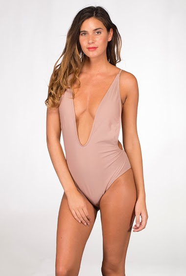 One-piece plunge swimsuit with padded cups, plunge neck and low-cut back