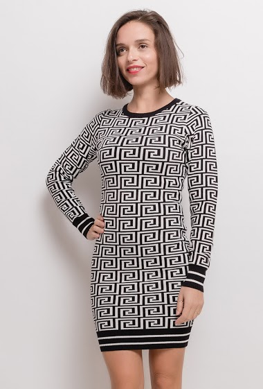 IM SHOP two-tone knit dress CIFA FASHION