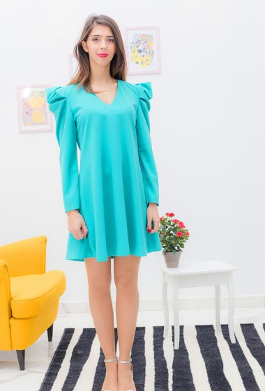 Tunic with puff sleeves, The model is 175cm tall and wears a S. Length: 90cm