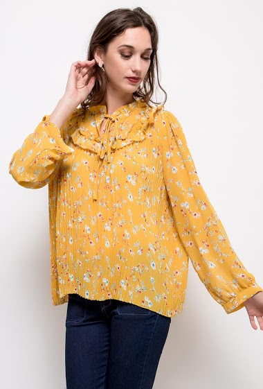 Pleated blouse, printed flowers. The model measures 177cm and wears S/M. Length:50cm