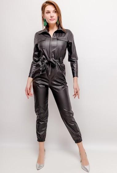 Fake leather jumpsuit