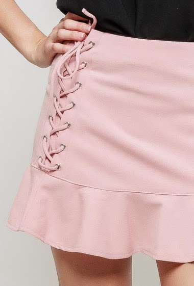Mini skirt, lace-up side and frill effect, zip side closure