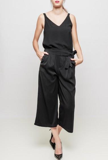 Pantalon jupe-culotte, longueur 7/8ème, large, poches et clous
