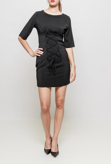 Robe t-shirt, effet corset, dos zippé, longueur 90 cm