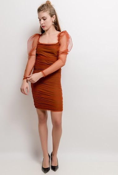 Draped dress. The model measures 173cm and wears S. Length:94cm