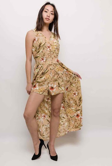 Silky jumpsuit dress with printed flowers. The model measures 170cm and wears S. Length:130cm