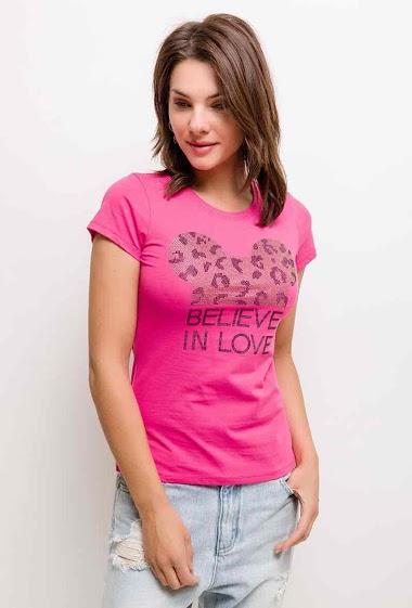 T-shirt imprimé à manches courtes, strass. La mannequin mesure 175cm et porte du S. Longueur:60cm
