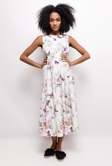 Sleeveless dress, printed flowers. The model measures 177cm and wears S. Length:125cm