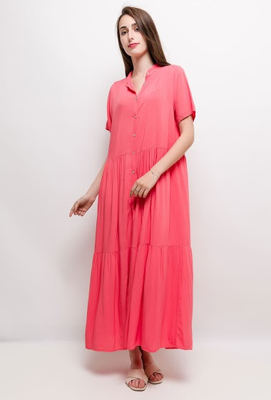 Button dress, slight fabric. The model measures 178cm and wears S. Length:135cm