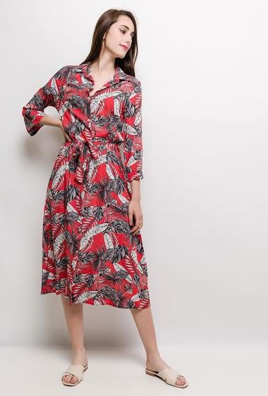 Midi dress, tropical print. The model measures 178cm and wears S. Length:120cm