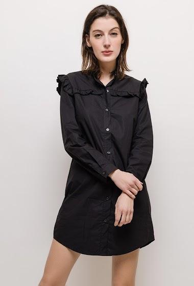 Long sleeve dress, ruffles. The model measures 177cm and wears S. Length:90cm