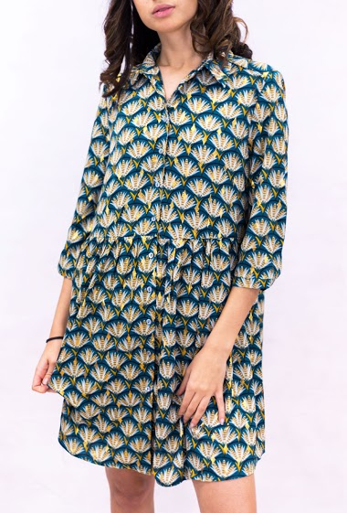 Shirt dress printed with feathers and golden patterns - IT HIPPIE