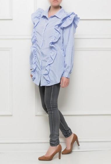 Shirt with stripes, fancy ruffles - Brand BUBBLEE