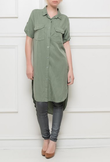 Short sleeves shirt, side slits, fluid and soft fabric, patch pockets - Brand BUBBLEE