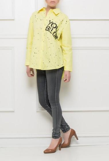 Shirt with splash paint, patch pocket - Brand BUBBLEE
