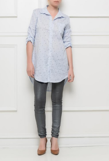 Shirt with stripes and printed anchors, regular fit, roll-up sleeves,One size corresponds to T38/40