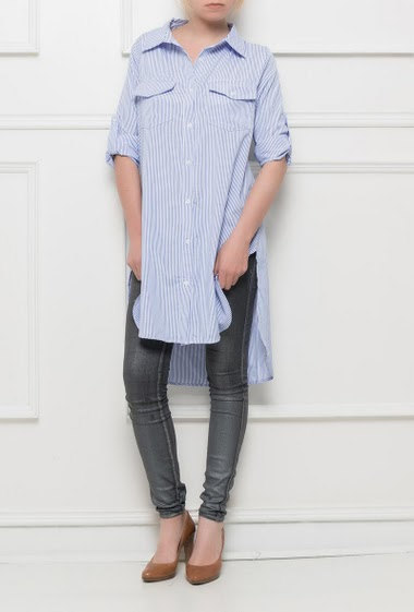 Shirt with fine stripes, side slits, long fit - Brand BUBBLEE