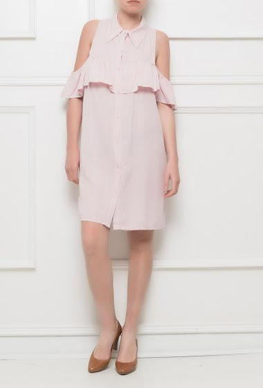 Soft frill dress (or tunic) with cold shoulder, button placket, Brand : Bubblee