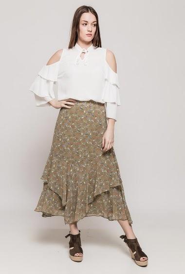 Long skirt, printed flowers, zip closure. The model measures 175cm and wears S
