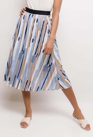 Midi printed skirt, elastic waist. The model measures 177cm and wears S