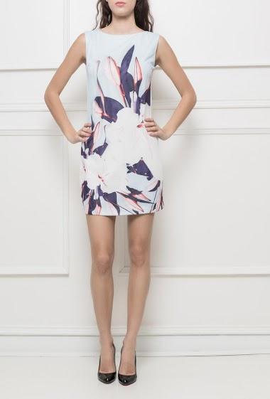 Robe sans manches ajustée, devant en tulle avec fleur imprimée, dos zippé, coupe droite - tenue habillée
