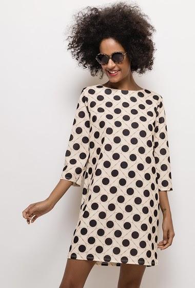Spotted regular dress. The model measures 177cm, one size corresponds to 10/12(UK) 38/40(FR). Length:85cm