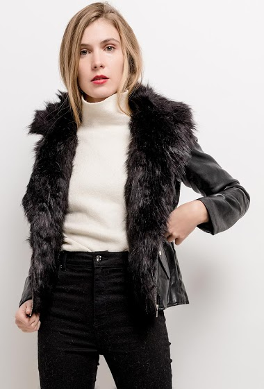 JAUNE ROUGE perfecto jacket with fur FASHION CENTER