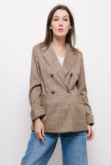 Check blazer,The model measures 174cm and wears S. Length:70cm