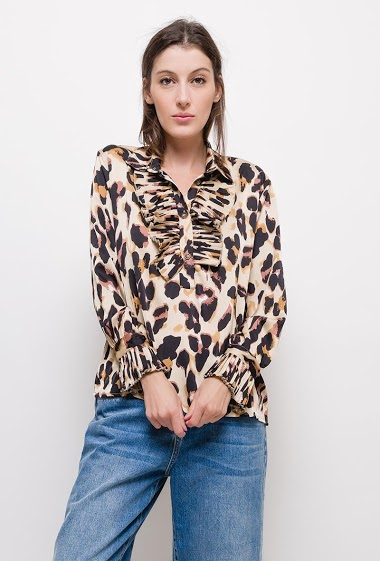 Leopard print shirt with pleated collar,The model measures 174cm and wears S. Length:60cm