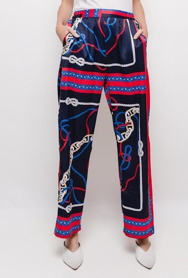 Pantalon large à imprimé marin,La mannequin mesure 174cm et porte du S