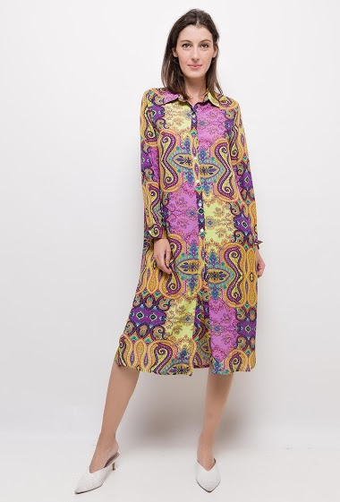 Baroque print shirt dress,The model measures 174cm and wears S. Length:115cm