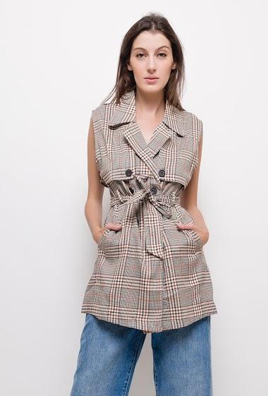 JCL PARIS túnica xadrez sem mangas CIFA FASHION