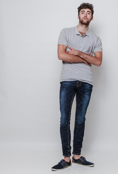 Jean washed blue crumpled effect, slim fit- Brand Us Marshall - The model measures 194cm and wears 32(T42). (US28=T38,US30=T40,US31=T41,US32=T42,US33=T43,US34=T44,US36=T46)