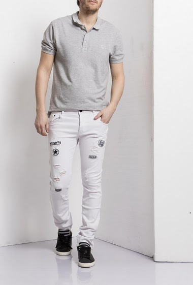 White jeans with patch, Destroy, Slim fit, Brand Us Marshall