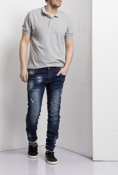 Jean wash blue crumpled effect, Destroy, Slim fit, Brand Us Marshall