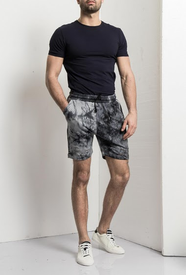 Printed wash Shorts, elastic waistband with tightening, 2 pockets - Brand Bel Mode
