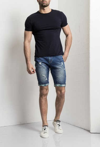 Shorts jeans washed, roll hem with check fabric, 5 pockets, normal size                                                   Label logot, belt loop, Brand US Marshall