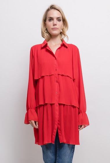 Ruffled long shirt. The model measures 171cm, one size corresponds to 10/12(UK) 38/40(FR). Length:86cm