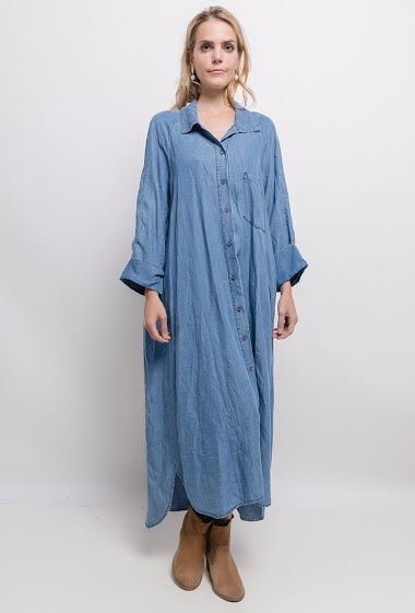 Maxi loose dress. The model measures 171cm, one size corresponds to 10/12(UK) 38/40(FR). Length:133cm