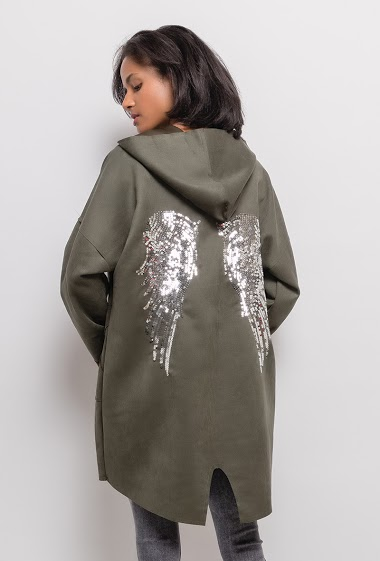 Jacket with angel wings in sequins. The model measures 177cm, one size corresponds to 10/12(UK) 38/40(FR). Length:92cm