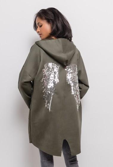 Veste avec ailes d'ange en sequins. La mannequin mesure 177cm, TU correspond à 38/40. Longueur:92cm