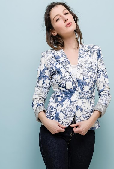 Blazer with printed flowers