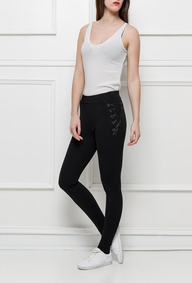 Leggings with lacing on the sides, elastic waist